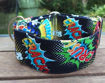 "Martingale Collar - Whippet, Greyhound, medium dog - 2"" width - Comic Hero"