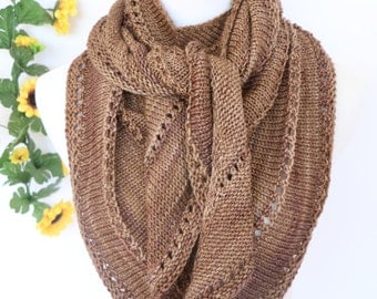 Light brown triangle scarf, merino wool shawl, variegated brown wrap, large knit bandana style,  handknit kerchief scarf, boho style wrap