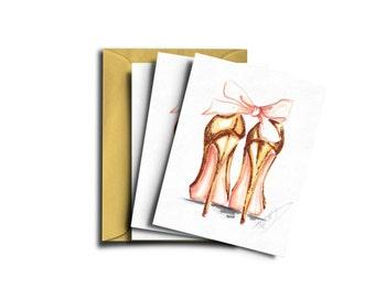 Heels card set, Fashion cards heels, Fashion card set, Christmas card set, Fashion cards, Christmas cards, Christmas card heels