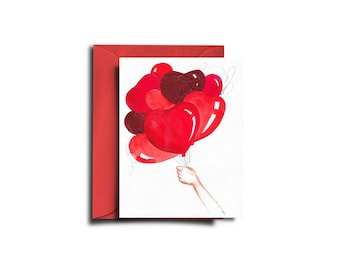 Valentine's Day Card, Valentine's day, Love card, Fashion card, Valentine Card, I love you card, Love cards, Heart balloons
