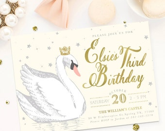 Elsie Swan Princess Girl Birthday Invitation: Ivory Cream, Gold & Silver Glitter Party Invite. First, Second, Third, Fourth, Any Age!