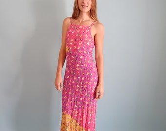 Lovely Pink and Purple 90s Maxi Dress with Yellow Floral Print!