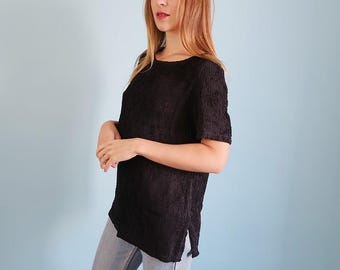 Vintage Slouchy/Oversized Black Woven Tee