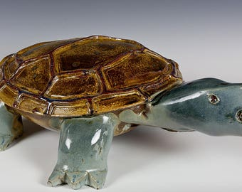 """Turtle or Tortoise Sculpture, Stoneware Clay Glaze in Blue, Tan, Red, Gold. 20"""" by 13"""" by 6"""" Tall"""