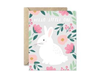 Bunny Hello Grey - Greeting Card