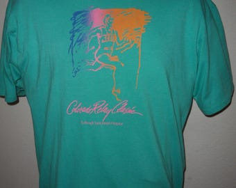 Vintage Original 1980s COLORADO Relay Classic Race Soft Thin Made in USA Hanes T Shirt XL