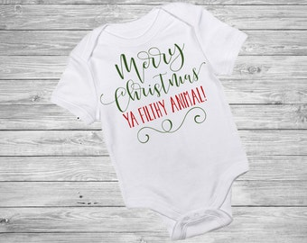 Merry Christmas Ya Filthy Animal Baby One Piece Christmas Outfit - Home Alone Inspired Holiday Outfit