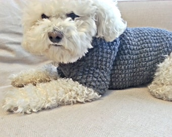 Grey Dog Hoodie, Dog Sweater, Pet Clothing, Dog winter clothes, Dog Outfit by BubaDog