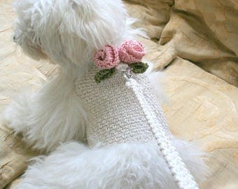 Dog harness with Matching Leash, Pet clothing, Dog top. Dog vest, Crochet Dog outfit
