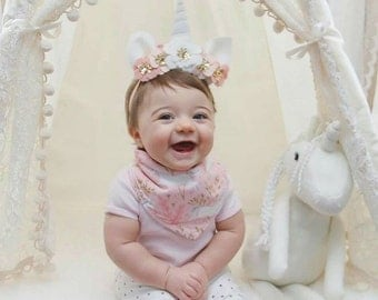 Baby's First Birthday Unicorn Horn Flower Crown - pale pink, white and gold - Unicorn flower crown - Lydia