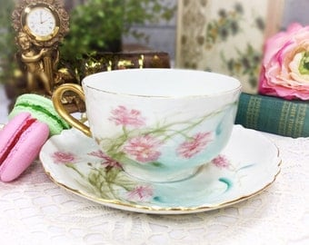 Handpainted H & C Floral French Tea Cup and Saucer, Gilt, For Wedding Shower, Tea Time, Bridal, Tea Party, Gift Made in France #735