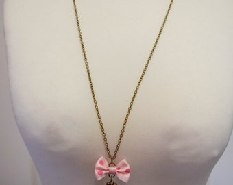 "Necklace ""Key"" royal bow pink polka dot"