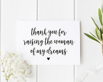 Woman Of Dreams Wedding Day Card, Card For Parents In Law, Thank You For Raising Woman Of My Dreams, Wedding Day Card, Parents In Law Card