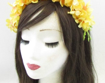 Yellow Trailing Wisteria Flower Headband Headpiece Headpiece Fascinator Vtg 962