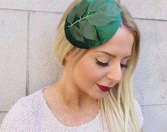 Emerald Green Velvet Botanical Leaf Fascinator Races Headpiece Hair Clip 2545