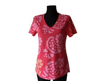 MARIMEKKO Floral Print Shirt Pink Gray Cotton Shirt Short Sleeves Size L