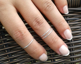 Skinny Silver Ring, above the knuckle delicate ring, Three sterling silver rings, 1 mm stacking rings, silver stacking ring, bohemian stack