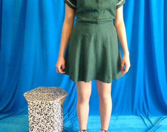 Shirt dress short green vintage 50s