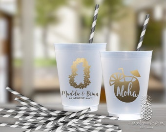 Wedding Party Cups | Personalized Frosted Cup | Aloha Lei Cups | Personalized Plastic Cups | Beach Wedding Cups | social graces Co.