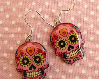 Skull earrings multicolored 925 sterling silver and resin