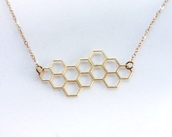 Gold Honeycomb Necklace, Honey Necklace, Layering Necklace, Beekeeper Necklace, Natural Jewelry, Golden Geometric Jewelry