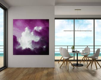 Cloud Painting, Wall Art, Print Abstract, Museum Quality Artwork by Corinne Melanie Art, Abstract Painting Print, Purple Art