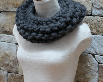Funky Extreme knit Charcoal Infinity Cowl. Big Stitch. One of a kind. Infinity Scarf. Big Knitting. Trendy. Neckwarmer. Funky. Trendsetter.