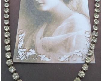 White diamente paste necklace art deco art noveau flapper 1920 1930 1940 1950's vintage party gatsby