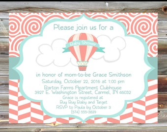 Hot Air Balloon Baby Shower Invitation - Personalized Custom Girl Baby Shower Invitation - Salmon Mint Baby Shower Invitation