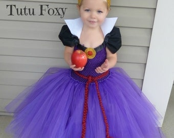 Evil Queen Tutu Dress, Evil Queen Costume, Snow White Birthday Outfit, Snow White Costume, Snow White tutu dress, villian costume,