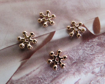 COPPER DAISY Bead 8mm Spacer flower rose pink gold beads cap vintage metal jewellry jewelry jewellery earring pendant necklace DIY