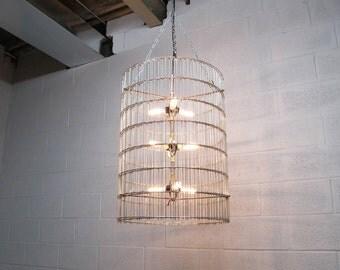 """Industrial Chandelier Large 30"""" Tall by 22"""" Wide Diameter Galvanized Steel Cage - Repurposed Metal - Lighting"""