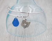Bangle Bracelet with State of Ohio Charm and Blue Recycled Glass