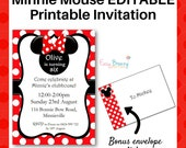 Red Minnie Mouse EDITABLE Printable Party Invitation - Instant Digital Download - A4 and Letter Sizes