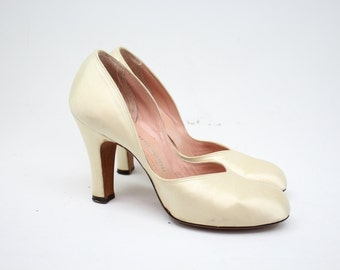 Vintage 50's Pearly Heels / 1950's Heels / Mademoiselle / Mid Century Shoes / Women's US Size 5.5 Narrow