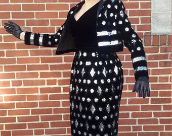 Black velvet maxi dress with matching jacket silver sequin FREE SHIPPING from RCMooreVintage