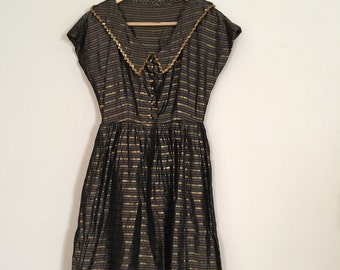 Vintage 1950s Party Dress - Taffeta Stripe Party Dress - Full Skirt Formal Dress