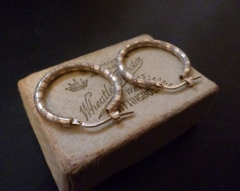 "Lovely pair of vintage sterling silver hoops - 925 - 1"" x 1"""