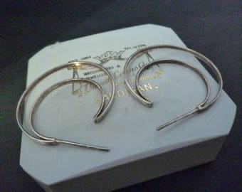 "Unique vintage sterling silver hoop earrings - 925 - 1.4"" x 1.5"""