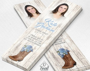 Country Memorial Bookmark for Woman with Cowboy Boots and Blue Flowers • Cowgirl Funeral Bookmarks • Country Girl Celebration of Life •