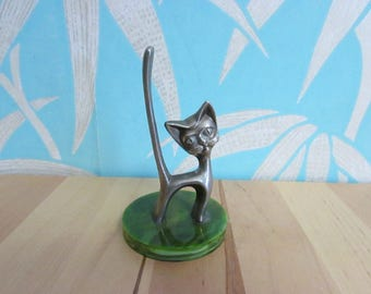 1960s Seba silver-plated cat on faux-marble base ring tree