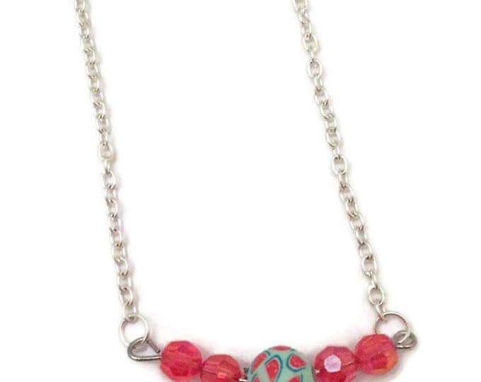 Swarovski Crystal, and Polymer Clay Bead Necklace on an 18 inch Silver Plate Chain, Red Swarovski Crystals, Clay Bead with Watermelons