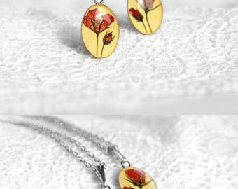 Love pendant for gift|for|her Natural jewelry for bridesmaid gift Wedding set gift for friend Delicate necklace set Resin necklace for girl