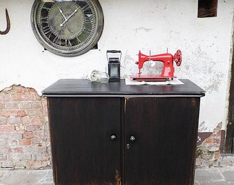industrial in black / old cabinet black shabby old chest of drawers