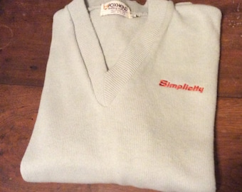 Simplicity tractors logo Foxhead Knit Grey Vneck Sweater