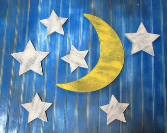 Moon with Extra Stars , Nursery Decor, Rustic Moon Sign, Wood Moon Sign, Crescent Moon, Distressed Wood Moon, Shoot the moon, Harvest