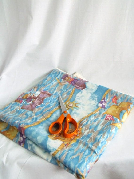 """pirate fabric, large remnant of cotton fabric, soft furnishing fabric, cotton material, blue fabric, 122"""" x 55"""""""
