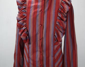 Vintage Women's Bib Front Blouse - Land And Sea - Red & Purple Stripe - Ruffle Collar - 1970's - Poly Cotton Blend - 2XL 18 - 20 - Prairie