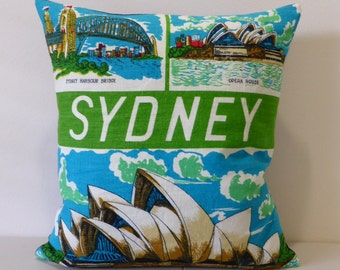 Sydney Cushion Cover Australian Places Australiana Opera House Harbour Bridge Repurposed Tea Towel Cushion NSW Souvenir Housewarming Gift