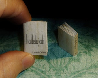 HALLELUJAH by LEONARD COHEN, Dollhouse Miniature Book, These Beautiful Lyrics to the Song Illustrated with Lovely Vintage Art